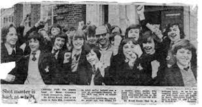 Newspaper cutting - picture of the teacher returning to school after attempted assassination