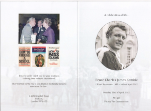 front cover of a memorial leaflet for Bruce Kemble